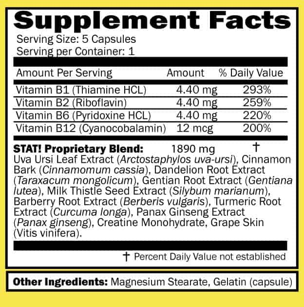 Stat flush supplement facts sheet